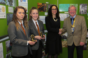 Skye and Tayla with headteacher Mrs Ramsay and Rotary President Peter
